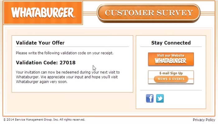 whataburger survey code